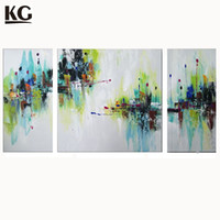 Wholesale Mini Oil Paintings - KG 3 Sets Abstract Paintings Mini Floral Green And Blue Combination Group Artwork on Canvas for Living Room Wall Art Decor
