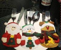 ingrosso sacchetto della tasca della tasca-2016 Nuovo stile Natale Babbo Natale posate Borsa Candy Gift Bag Carino Pocket Fork e Knife Holder Table Dinner Decoration