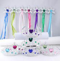 Wholesale Colorful Tiaras Wholesale - Snowflake ribbon wands crown set fairy wand girl Christmas party snowflake gem sticks magic wands headband crown tiara colorful KKA2466