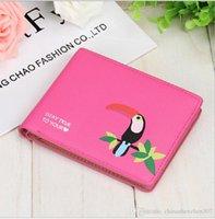 nuevos bolsos coreanos al por mayor-2016 Nuevo toucan de impresión de la marca de la cartera de la Mujer monedero corto colorido de la carpeta superior de la tarjeta de Corea del monedero Envío gratis