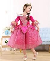 Wholesale Dresses Sleep Spring - New Arrival Girls Sleeping Beauty Dress Pagoda Sleeve Princess Aurora Cosplay Halloween Costume pink dress