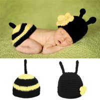 Wholesale Newborn Photography Bee - Newborn Costume Crochet Outfits Cotton Hat Animals Set for 0-12 Months Baby Photography Props Baby Bee Clothes Caps BP046