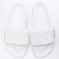 Wholesale Wholesale Soft Slide - Leadcat Fenty Rihanna Shoes Fashion Women Slippers 4 Colors Indoor Shoes Fur Slides Without Box High Quality