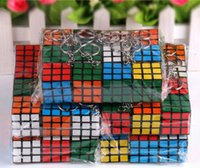 Wholesale Cheap Gifts Toys - Cheap 3*3*3CM Min Puzzle Magic Cube Keyring Mini Puzzle Keychain Intelligence toy for Men Women Fancy gift QK
