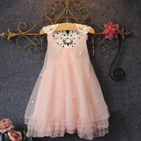 Wholesale Layered Ruffles Kids Dresses - New Summer Girls Chiffon Dress Princess Pink Lace Hollow Out Back Dresses With Pearl Children Kids Sleeveless Vest Layered Dress For 1-11T