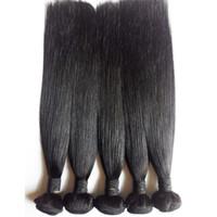 extensions de cheveux brésiliens mixtes remy achat en gros de-Brésilien Vierge Cheveux Raides Mélange Longueur 3pcs lot Indien Remy Cheveux Extension 8-30inch Couleur Naturelle Doux Cheveux Mongole Trame