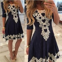 Wholesale Navy Skirt Bow - 2016 Lace Appliques Navy Blue Homecoming Dresses Jewel Neck 3 4 Sleeves Mini Short Skirts Cocktail Dresses Zipper Back Prom Gowns