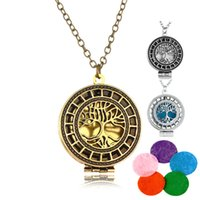Aroma Necklace Hollow Life Of Tree Pendant Necklace Óleos essenciais Diffuser Colar Jóias requintadas FBA Drop Shipping B426Q