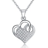 Wholesale Heart Shaped Watch Necklace - JPF matched heart woman 925 heart-shaped pendant necklace silver necklace jewelry watch Whitehead