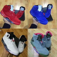Wholesale Shoe Air Camo - with box retro 5 white cement red blue suede women men camo basketball shoes air metallic black white grape 5s sports shoes sneakers