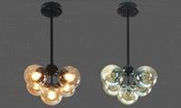 pour décor industriel achat en gros de-Vintage Art Plafonnier Hôtel Salon Villa Décor LED Lustre Pendant Lamps E27 Industriel Lustre En Verre avec Billes De Verre