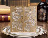 Wholesale Elegant Wedding Invitation Cards - Golden flower leaves cheap elegant flower laser cut wedding invitations cards hollow personalized Engagement invitation cards with envelope