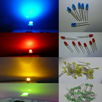 Wholesale Wholesale Green Laser Diodes - 4 Color 1000pcs 3mm Red Blue Green Yellow diffused LED Light Lamp led Diodes 3mm Diffused Ultra Bright Round LED Light Free Shipping