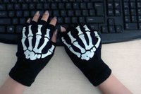 Wholesale Gloves Computer - Fashion Black Cycling Fingerless Skull Gloves Dirt Bike Bicycle Motocross Off-Road Computer For Men Women Halloween Party