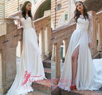 Wholesale Princess Stephanie - 2016 Stephanie Allin Wedding Dresses with Illusion Long Sleeve Summer Beach A-Line Jewel Chiffon Split Vintage Cathedral Wedding Gowns
