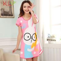 Wholesale Hot Rabbit Dresses - Wholesale- Stylish 2017 Hot Lovely Women Cartoon style Women Girl Rabbit Sleepwear female nightgown Short Sleeve Dress for lady
