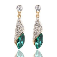 Wholesale Glass Gemstone Earrings - The big European and American fashion full diamond gemstone glass droplets earring Haiyangzhixin same paragraph temperament earrings jewelry