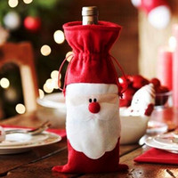 Atacado - Red Wine Bottle Cover Bags Decoração de mesa de jantar de Natal Home Party Decors Santa Claus Christmas Supplier