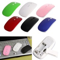 Wholesale- 2.4GHz Wireless Ultra Thin Optical Scroll Mouse / Ratos + Receptor USB para PC Laptop High Quality Wholesale mouse
