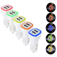 Wholesale Free Ipad Gps - LED Light dual usb Port car charger 2ports Adapter 5V 2.1A+1A for Iphone 4 5 6 7 for ipad for samsung gps mp3 pc DHL free CAB198