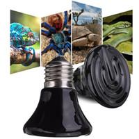 ampoule de lampe à chaleur pour animaux de compagnie achat en gros de-25W / 50W / 75W / 100W / 150W Mini céramique noire Ampoule infrarouge Heat Emitter Lamp Reptile Heat Lamp Pet Coop Brooder Cultiver Ceramic Heater Lumière