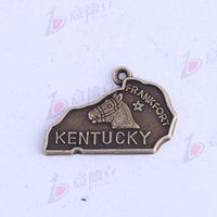 Wholesale Antique Kentucky - antique silver bronze KENTUCKY FRANKFORT horse irregular pendants Charms DIY irregular jewelry fit necklaces 150pcs lot 3419