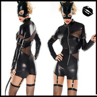 Wholesale Women Leather Outfit - New Popular Sexy Black Catwomen Catsuits Cosplay Jumpsuits with Mask Black Cat Leather Latex Women Maid Costume Flexible Outfits