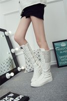 Wholesale Hot Spring Autumn - Fashion Women High Boots Canvas Casual Boots Female Heavy Bottomed Spring Autumn Winter rivet Boots Hot Selling J87