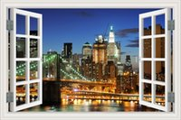 Wholesale New York Wall Decals - Brooklyn Bridge New York Magnificent Night View Removable 3D Window Scenery Wall Sticker Landscape Mural Art Wallpaper Home Decal