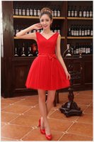 Wholesale Best Top Prom Dress - Best Selling Lace Top Short Cocktail Party Dresses With V-Neck Ruched Tulle 2016 Mini Formal Occasion Prom Dress In Stock Cheap