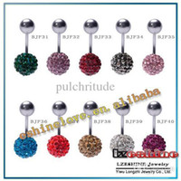 Gros-10mm Crystal Disco Shamballa boule ventre Ring, ventre bouton nombril anneau Piercing Belly Button Mix options BJFmix4