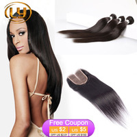 Wholesale Straight Indian Hair For Sale - Hot Sale 4Pcs LOT 1 Piece Silk Base Closure With Hair Bundles 3Pcs Human Virgin Hair Weft With Closure For Full Head Straight