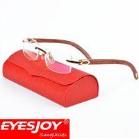 Wholesale Classic Metal Works - Gold Frame Glasses Luxury Fashion Wood Eyeglasses Reading Glasses Metal Frame Brand Designer Eyeglasses for men with Original Red Box