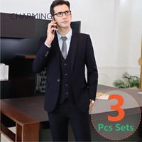 Wholesale Black Pinstripe Dress Pants - Mens designer suits 3PCS set (suit + vest + pants) 2 color (black + Navy) high quality fabric wedding groom dress formal suits for men