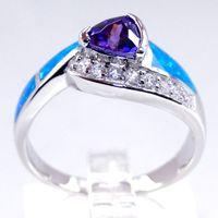 conjuntos de ópalo azul de la boda al por mayor-Nueva joyería de moda 925 anillo de plata esterlina azul OPAL diente configuración circonio rodio chapado regalos de boda AGP638 size6.7.8.9 envío gratis