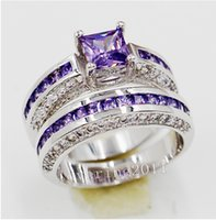 Vente en gros - Taille de livraison gratuite 5/6/8/8/9/10 Luxe Princesse coupée Jewerly 10ktwhite or rempli Amethyst Gem Simulated Diamond Women Wedding R