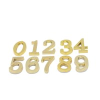 Wholesale Room Plaques - Golden #0-9 House Hotel Door Address Plaque Number Digits Plate Sign Size 50x30mm Self Adhesive Sticker Convinient Room Gate Number