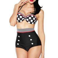 e47ddedf59 New Vintage High Waist Bikini Set Women Plus Size Polka Dot Print Swimwear  Push-Up Halter Underwire Bandeau Bikinis Swimming Suit CCF0601