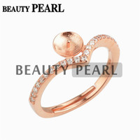 Wholesale zircon jewellery - 5 Pieces Pearl Ring Mount Findings 925 Sterling Silver Zircon DIY Jewellery Ring Base Rose Gold