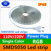 Wholesale High Power Rgb Led Strip - 110V 220-240V High Voltage 100m Led Strips 5050 Waterproof 10m 15m 20m 25m 30m 35m 40m 45m 50m Led Light Strips + Power Suply