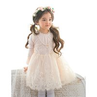 Wholesale Pretty Chinese Girls - Pretty lace Girls Dresses long sleeve New Childrens Princess Dresses Girls Party Dresses Fashion Dress Kids Dress Girl Clothes A1273