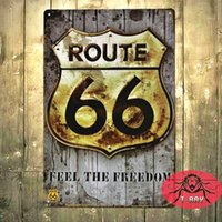 Vintage Tin firma Route 66 Wall Decor Sticker casa Casa Ufficio Garage Quadri ferro D-55 20 * 30cm 160.909 #