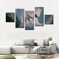 Wholesale Kissing Paintings - Canvas Printing Abstract Artistic Wall Paintings Lines Romantic Kissing Picture Unframed Canvas Wall Art Canvas Decoration 5 Panels