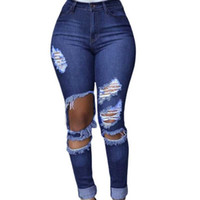 Wholesale Denim Jeans Xl Women - 2016 Worn Hole Jeans Woman Casual Ripped Jeans For Women Pencil Jeans With High Waist Pants Women's Jeans Femme Vintage Denim
