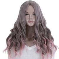 perucas misturadas venda por atacado-cheaps harajuku mistura gradiente cinza peruca rosa cosplay longo resistente ao calor perucas encaracolado ondulado peruca de cabelo sintético perucas de alta qualidade