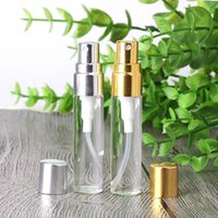 Wholesale Wholesale Amber Glass Spray Bottles - Gold Silver Clear Lids for 5ml Amber Clear Empty Refilable Spray Bottles with Fine Mist Sprayer Atomizer 540Pcs Lot Free DHL Factory Price