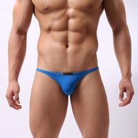 calcinhas de spandex para homem venda por atacado-Atacado-B1133 Homens Sportswear Natação Briefs Sexy Biquíni baixo crescimento Suave Underwear Swimwear Spandex Beachwear Pessoa Corajosa