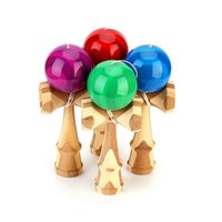 Wholesale Kendama Blue - Wholesale- High Quality Sport Fun Bamboo Toy Kendama Juggling Ball Game Toy Gift For Children Traditional Toy Blue Green Purple Red