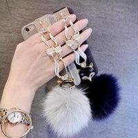 Wholesale Iphone Cover Lover Cartoon - For iphone 7 6s plus Fashion Diamond Bling Rabbit Fur Hair Fox Head Protective Cover For iphone7 7plus Keychains CCA7422 100pcs