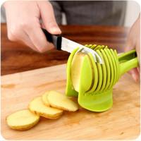 tomatenhalter großhandel-Tomatenschneider ABS Kunststoff Kartoffelschneider Küche Gadgets Zitrone Orange Obst Gemüse Halter Aufschnittmaschinen Triturador Kochen Werkzeuge